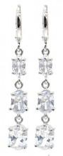 B-B9.3 E516-005 Earrings 1x4cm with Cubic Zirconia Silver