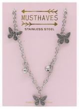 G-F15.1 N2053-004 S. Steel Necklace Butterflies 36-39cm For Kids