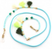 B-C5.1 GL245 Sunglass Chain Wax Cord with Beads and Tassels Blue