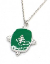 D-A9.3 N010-061S S. Steel Necklace with Enamel 2cm Charm