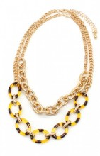 B-D15.2 N223-002 Necklace with Metal Chains and Leopard Print Gold
