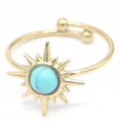 F-A3.1 R521-004 Stainless Steel Ring Sun with Turqoise Stone Adjustable