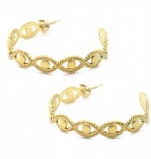 A-D22.2 E2033-016G S. Steel Earrings Chain 4cm Gold