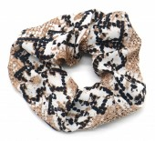 S-C3.4 H305-051D Snake Print Scrunchie Brown