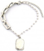D-E20.4 B2019-003S Chain Bracelet with Pearls Silver