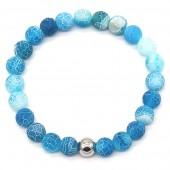 D-D20.1  B2121-001 Cracked Agate Bracelet Blue
