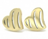 E-C15.1 E301-027 S. Steel Earrings with 10mm Heart Gold