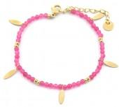 C-D22.2 B220-026S S. Steel Bracelet with Glassbeads Pink-Gold