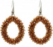 A-E15.2 E007-001 Facet Glass Beads 4.5x3.5cm Brown