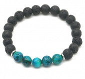 C-A18.2  B1639-017 Bracelet Lava Stone-Tigers Eye 8mm Black-Blue
