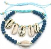 C-E20.4 B538-001 Bracelet Set 2pcs Shells Blue