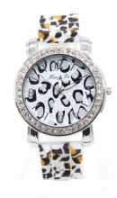 WA202-001 Quartz Watch with Leopard Print and Crystals Silver-White Leopard