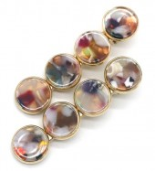 G-E3.2 H413-011B Hair Pin Set 2pcs 6.5x1cm Marble Multi Color