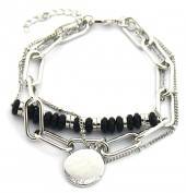 E-A5.3 B2019-012S Layered Chain Bracelet Silver