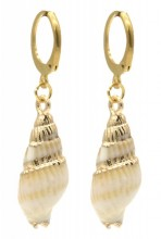 F-B21.3 E2121-040G S. Steel Earrings Shell 1x3cm Gold