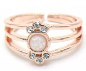 F-E19.2 R532-012R Adjustable Ring with Crystals Rose Gold