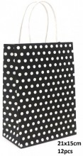 Y-F1.1 PK525-006B Paper Giftbag Dots 21x15cm Black-White 12pcs