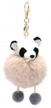S-E1.3 KY2035-017E Keychain Fluffy Panda with Crystals 12x6cm Khaki