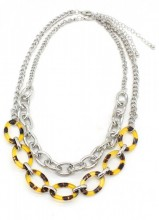 B-E2.1 N223-002 Necklace with Metal Chains and Leopard Print Silver