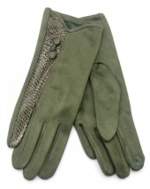 R-I2.2 GLOVE403-093D Glove Buttons and Snake Print Green