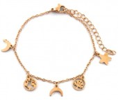 B-C7.3 B1939-011 Stainless Steel Bracelet with 7mm Charms Rose Gold