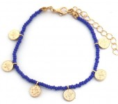J-D3.1 B2039-018E Bracelet with Glass Beads and Coins Blue
