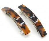 E-C8.1  H413-001 Hair Clip set 2pcs Marble Dark Brown