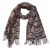 Z-B2.2 SCARF405-024E Sof Scarft With Animal Print 180x70cm Dark Brown