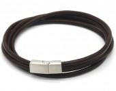 F-E18.2 B1642-003B S. Steel with Leather Wrap Bracelet 43cm Brown