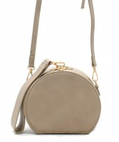 Y-C1.1 BAG215-001 Round PU Bag with Large Handle Khaki 18x15x9 cm