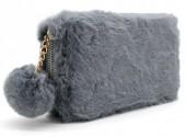 H-A19.1 WA117-005 Soft Fake Fur Wallet with Pompon 19x10cm Grey