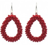 F-B20.2  E007-001M Facet Glass Beads 4.5x3.5cm Red