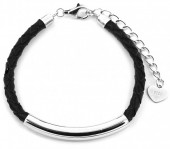 D-B5.3 SB105-050A 925S Silver Bracelet Leather Black