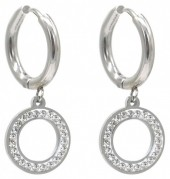 C-C5.4 E1934-004S Stainless Steel 15mm Earrings with 12mm Circle Silver