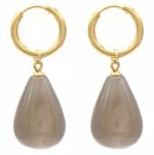 A-C18.1 E2121-057G S. Steel Earrings 3x1cm Grey Stone