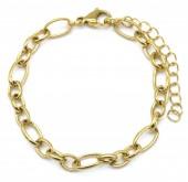 B-E6.3  B2126-002G S. Steel 7mm Chain Bracelet Gold