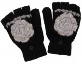 I-A16.1 Kids Gloves with Flower Black