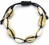 C-D2.2  B2001-032 Bracelet with Shells Gold-Black