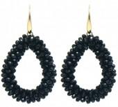 B-A15.2  E007-001 Facet Glass Beads 4.5x3.5cm Gold-Black