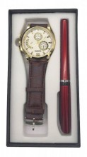 W425-001A Giftset Quartz Watch with Pen Brown