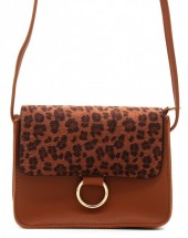 X-O9.2  BAG202-001 PU Bag with Leopard Print 20x14x8cm Brown