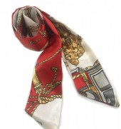 H415-002E Hair Scarf with Fantasy Print 100x5cm Red