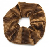 S-F1.4 H350-022F Rib Fabric Shiny Scrunchie Brown