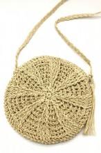 BAG003-005 Straw Crossbody Bag Round Beige