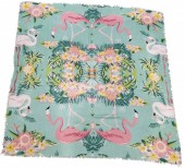 X-I8.2 SCARF508-002 Square Scarf with Flowers and Flamingos 130x130cm