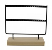 Q-B3.1 PK424-004 Wood with Metal Earring Display Black 23x22x7cm