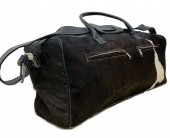 Leather Cowhide Duffle Bag 60x25x25cm Black Mixed Colors