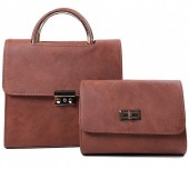 Y-B2.1  BAG419-003B PU Bag Set 2pcs 25x23x10cm Brown
