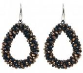 F-D16.5  E007-001G Facet Glass Beads 4.5x3.5cm Black-Copper