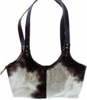 T-G6.2 Leather Bag with Mixed Colors Cowhide 40x25cm